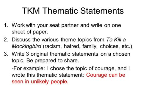 themes of racism in to kill a mockingbird theme statements vs topics ppt video online download