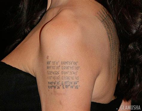 angelina jolie geographical coordinates tattoo татуировки анджелины джоли и их значения