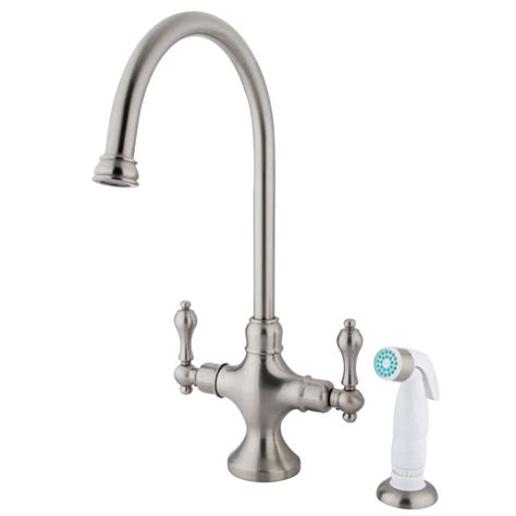 two handle kitchen faucet with sprayer kingston brass ks1768al vintage kitchen faucet