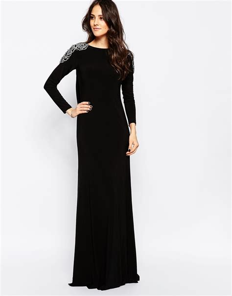Calista Maxi Dress lyst forever unique calista sleeve maxi dress with embellished shoulders and open back in