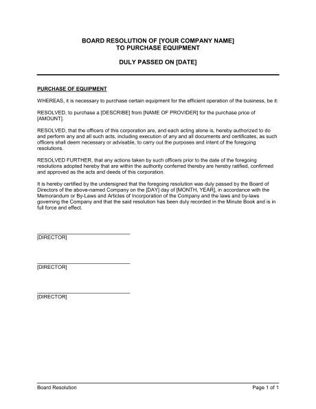 Letter Of Intent To Purchase Diesel Board Resolution To Purchase Equipment Template Sle