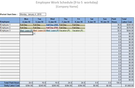 staff schedule template 8 free word excel pdf format download