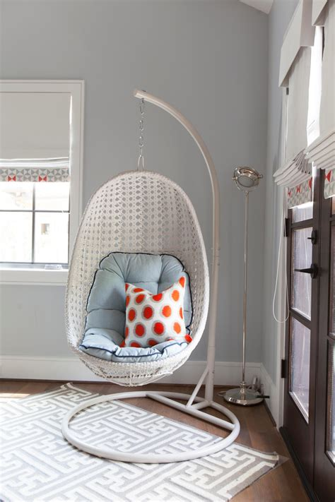 hanging armchair hanging chairs in bedrooms hanging chairs in kids rooms hgtv s decorating