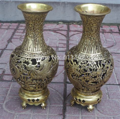 home decor vase a pair home decor metal crafts vases chinese brass carved