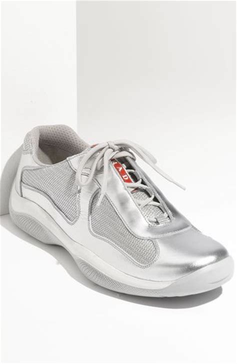 prada americas cup sneaker prada americas cup mesh leather sneaker in silver for