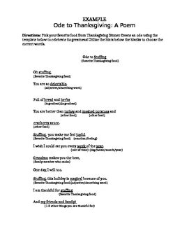 ode lesson plan template ode poem template food by ms penguin preps teachers pay
