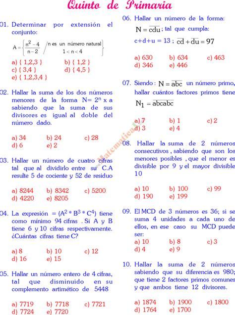 preguntas faciles sobre matematicas concurso de matematica 5 de primaria y razonamiento verbal