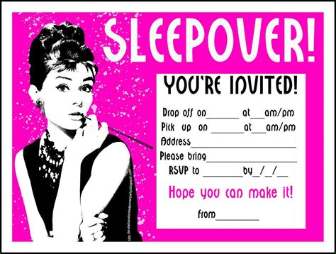 free sleepover invitations templates sleepover invitation wording invitation templates