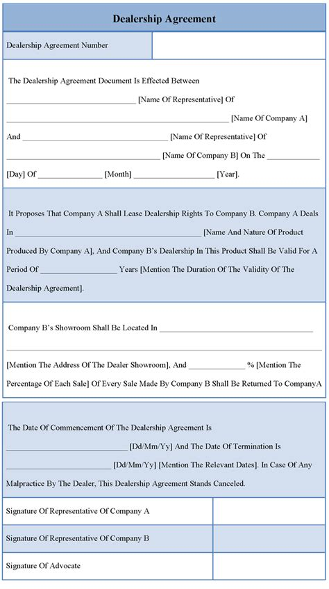 Dealership Agreement Letter Sle Agreement Template For Dealership Exle Of Dealership Agreement Template Sle Templates