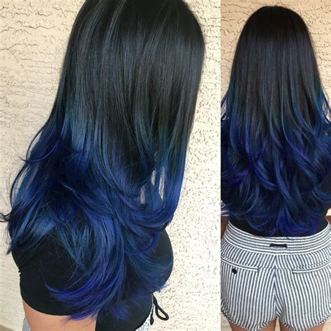 coloring only bottom of d hair black to blue ombre hair tips hair care pinterest