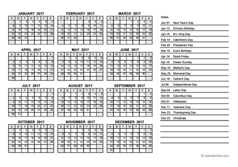 Calendar 2017 Pdf Printable 2017 Yearly Calendar Pdf Free Printable Templates