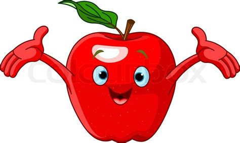 imagenes de manzanas rojas animadas cheerful cartoon apple character stock vector colourbox