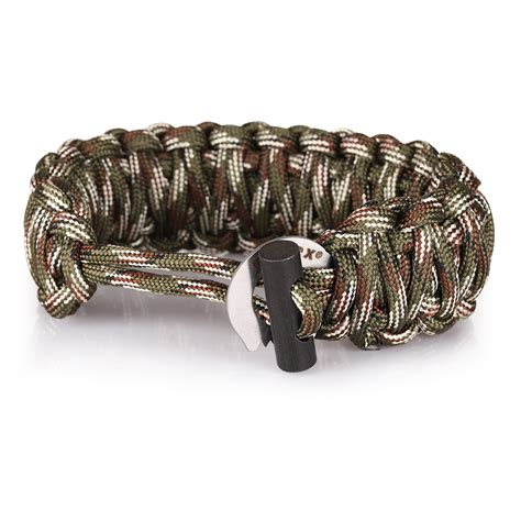 Paracord Whistle 1 3 type survival bracelet flint starter paracord whistle gear buckle cing ebay