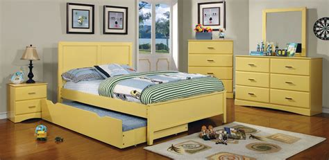 Yellow Bedroom Furniture Prismo Yellow Youth Platform Bedroom Set From Furniture Of America Cm7941yw T Bed Coleman