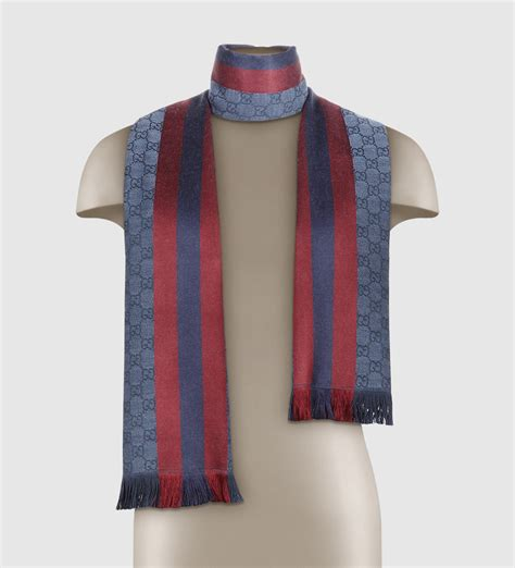 gucci gg jacquard web knit scarf in blue lyst