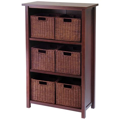 winsome 174 milan 3 tier shelf with rattan baskets 196916