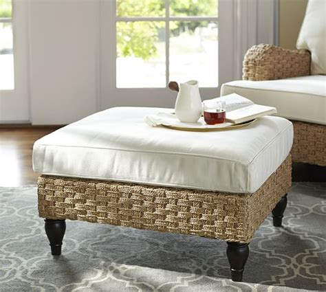 seagrass bench pottery barn fisher woven seagrass ottoman pottery barn