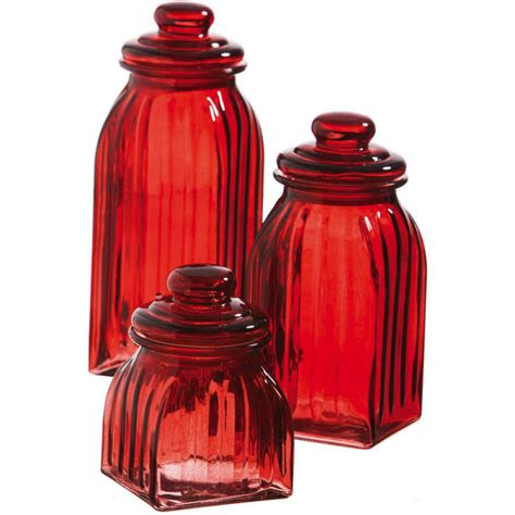 Red Glass Kitchen Canisters | new 3pc ruby red glass jar canisters kitchen decor food storage home accent food ebay