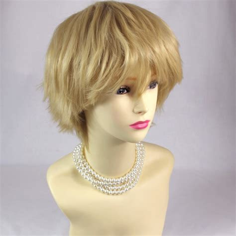 short spikey hairpice wiwigs striking blonde man s wig short spikey style lady