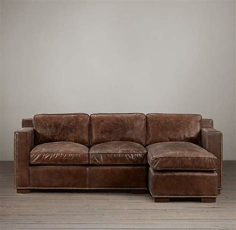 collins sofa restoration hardware collins leather right arm sofa chaise sectional with