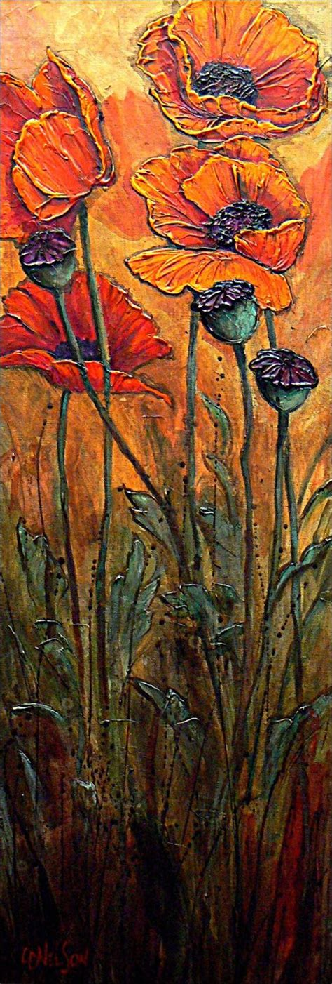 acrylic paint on canvas finish finished flowers textured acrylic painting by carol nelson
