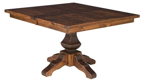 Amish Rustic Plank Square Dining Table Pedestal Solid Wood