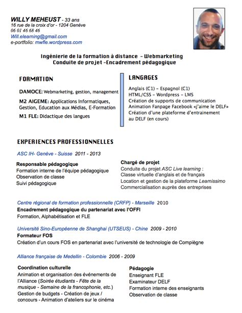 Exemple Cv En Ligne by Cv En Ligne E Portfolio