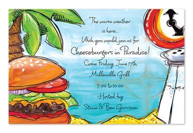Cheeseburger in Paradise   Party Invitations by Invitation