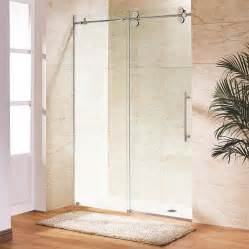 frameless shower doors lowes shop vigo 64 in to 68 in w x 74 in h frameless sliding