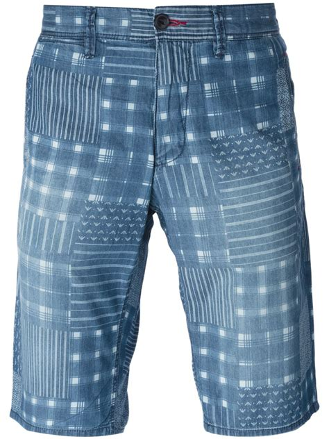 Mens Patchwork Shorts - armani patchwork print denim shorts in blue for