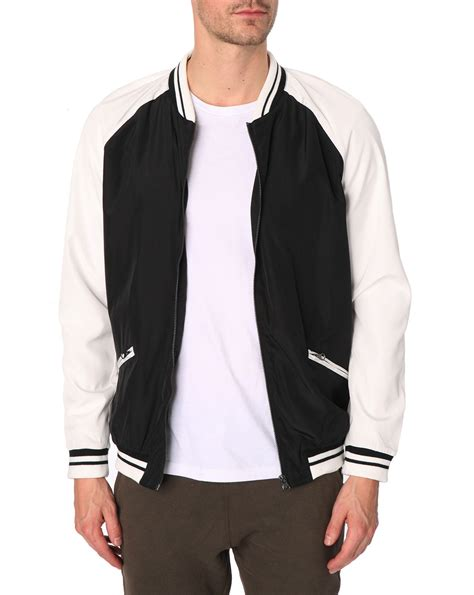 Bomber Black White White Atasan Jaket Bomber selected buttoned white and black bomber jacket greaser in white for lyst