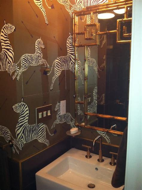 zebra bathroom ideas brown zebra wallpaper transitional bathroom
