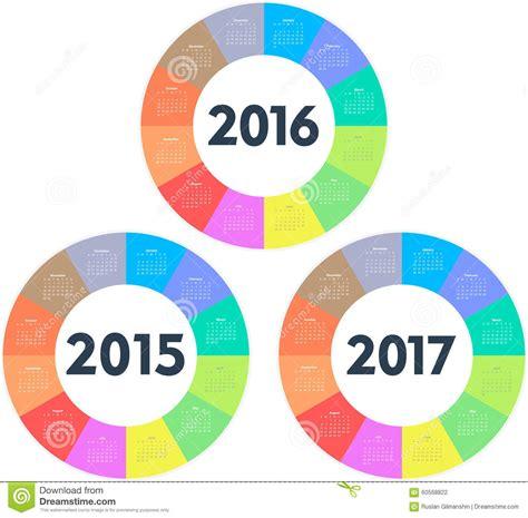 circle calendar template circle calendar for 2015 2016 2017 years stock vector