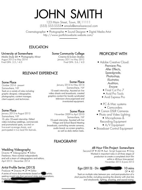 Videographer Resume by Videographer Resume Resume Templates
