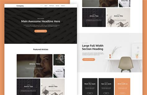 page layout web based cardly card based landing page template psd html
