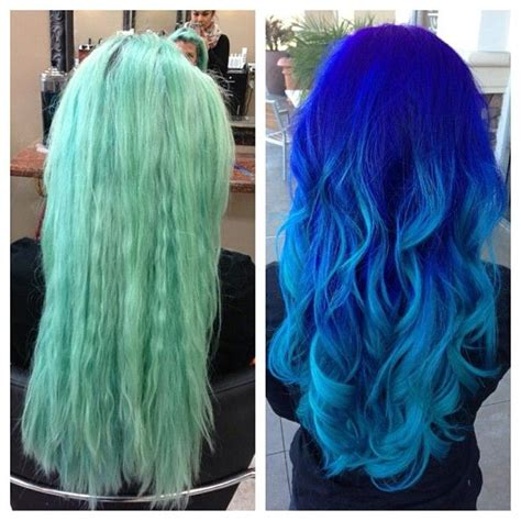 ombre with pravana vivids a before and after from faded turquoise to an ombr 233