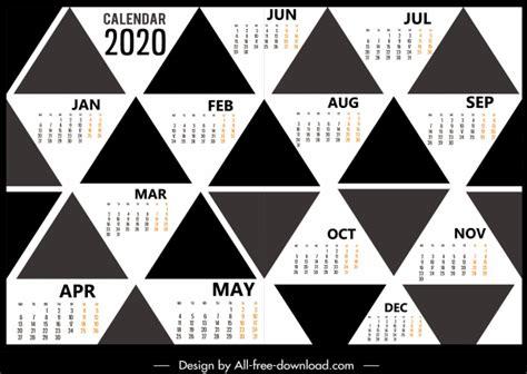 calendar template black white geometric triangles decor vector misc  vector