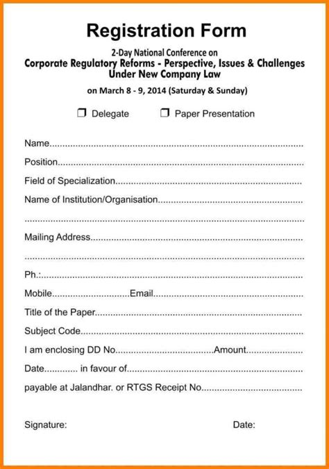 event registration form template word free business registration business form free business