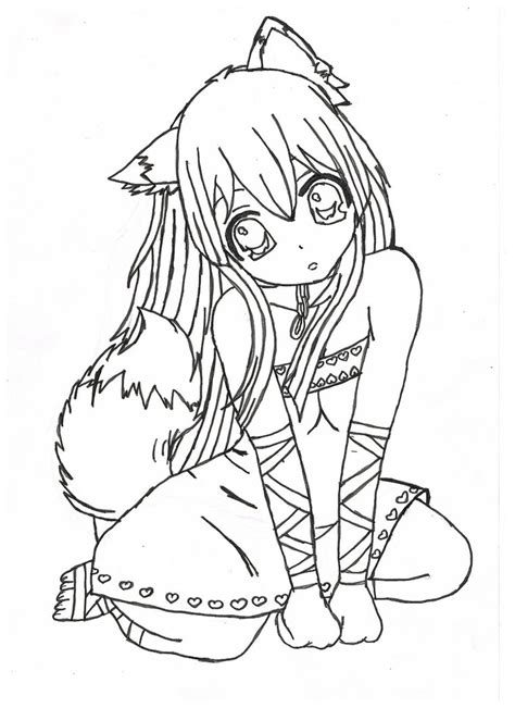 manga girl coloring pages cute anime fox girl drawings newhairstylesformen2014 com