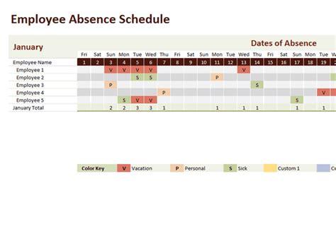 employee absence template employee absence schedule 2013 2014 2015 2016 employee