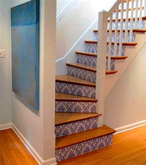 home stairs decoration adding beautiful wallpapers to stairs risers for original