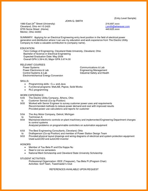 Cover Letter Electrical Engineer by 7 Entry Level Electrical Engineering Resume Lpn Resume