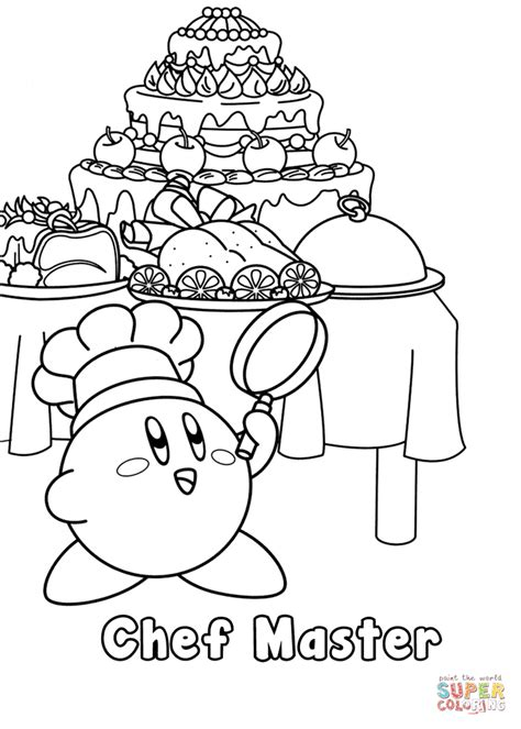 kirby coloring pages kirby chef master coloring page free printable coloring