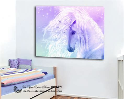 Unicorn Room Decor Unicorn Stretched Canvas Print Framed Wall Room Decor Painting Ebay