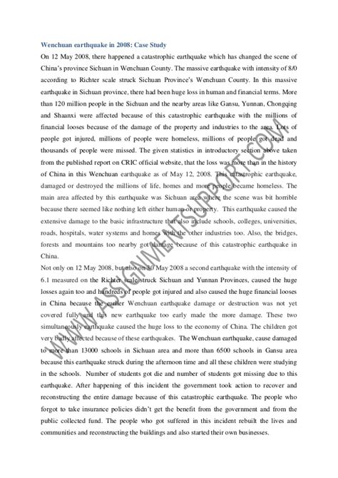 Earthquake Essay by Insurance Policy In Chinas Earthquake Essay Sle From Assignmentsup