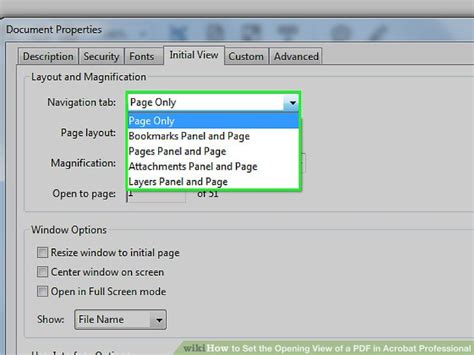 page layout view computer definition how to set the opening view of a pdf in acrobat professional