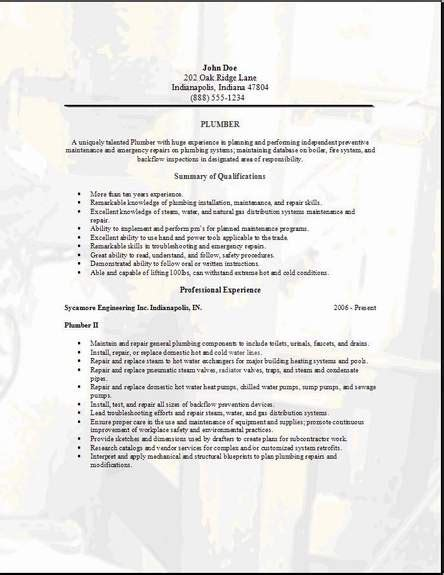 plumbing resume exles free resume downloads exles sles free edit with word