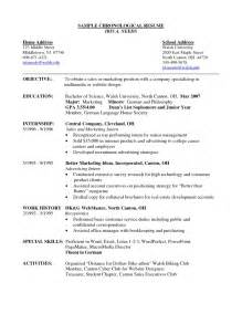 Chronological Format Resume Example Chronological Resume Example Resume And Letter Writing