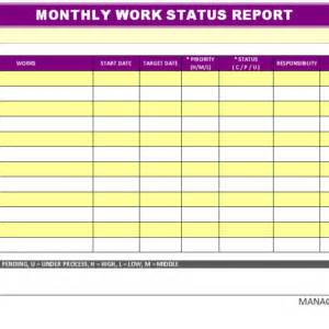 monthly work status report sample with yellow tables