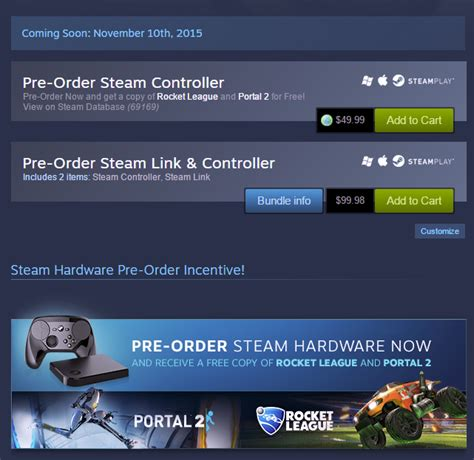 Steam Gift Card Canada Eb Games - steam pre order steam link or steam controller and get rocket league and portal 2
